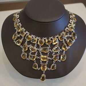 .925 Sterling Silver & Genuine Citrine Necklace